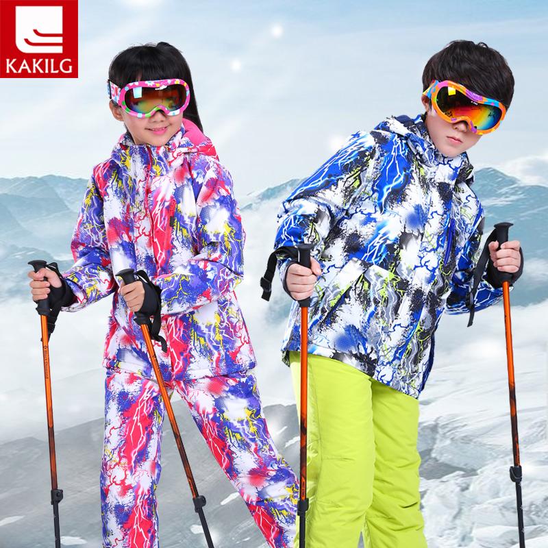 [해외]소녀 소년 하이 엔드 딱딱한 방수 스키 복 아동 소녀 따뜻한 스노우 보드 코트 / 재킷 + 장난 꾸러기 바지 110-160cm/Girl Boy High End Thickening Waterproof Ski Suit Children Girls Warm Snowbo