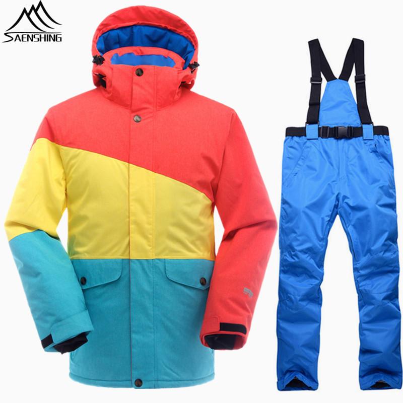 [해외]SAENSHING 스노우 보드 정장 남성 겨울 스키 정장 방수 스노우 보드 자켓 스키 바지 통풍 스노우 슈트 야외 스키/SAENSHING Snowboarding Suits Men Winter Ski Suit Thermal Waterproof Snowboard J
