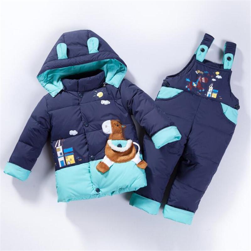 [해외]베이비 의류 세트 유아 80 % 흰색 오리 자켓 + 점프 슈트 겨울 Snowsuit 여자 아이 스키 정장 겨울 바지 2018 겨울/Baby Clothing Set Infant 80% White Duck Down Jacket+Jumpsuit Winter Snows