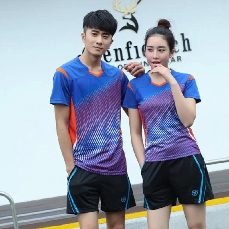 [해외]2 개 한국어 패션 운동복 여자 / 남자 테니스 셔츠 + 반바지 배드민턴 유니폼 탁구 의류 통풍 스포츠 세트/2 pcs Korean Fashion Sportswear Women/Mens Tennis Shirts+Shorts Badminton Uniforms Ta