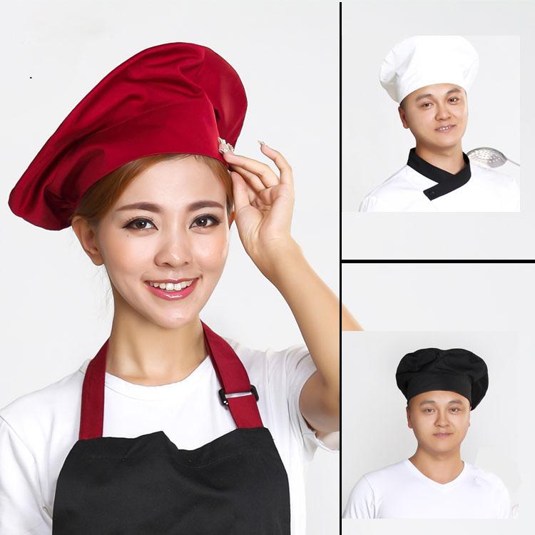 [해외]2018 뉴 와인 레드 쉐프 ??햇 호텔 캐터링 주방 요리사 모자 솜 코튼 원단 통기성 서양 식당 호텔 작업 모자/2018 New Wine Red Chef Hat Hotel Catering Kitchen Chef Hat Cotton Fabric Breathabl