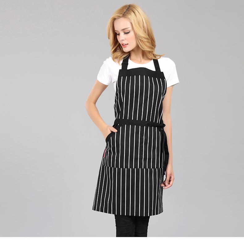 [해외]2018 패션 한국어 버전 조리 흰색과 검은 색 줄무늬 ApronPocket 요리 앞치마 주방 식당/2018 Fashion Korean version Apron kitchen restaurant cooking white and black stripe ApronP