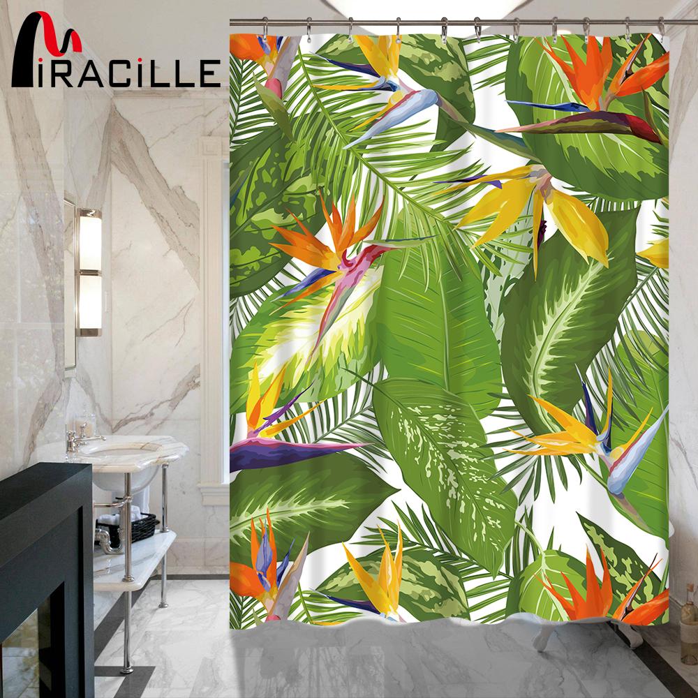 [해외]Miracille 열 대 꽃 잎 방수 샤워 커튼 인쇄 홈 장식 패션 목욕 커튼 욕실 액세서리/Miracille Tropical Flowers Leaves Printed Waterproof Shower Curtain Home Decorative Fashion Ba