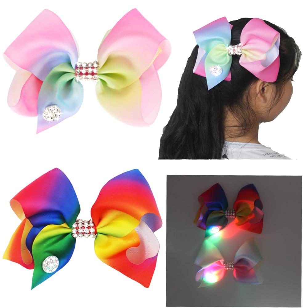 [해외]2 색상 소녀 믹스 색상 Diamante 빅 패션 헤어 보우 댄스 파티 스쿨 액세서리 LightLlow in Dark/2 Colors Girls Mix Color Diamante Big Fashion Hair Bow Dance Party School Access