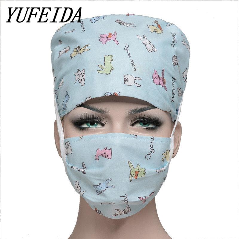 [해외]YUFEIDA 병원 클리닉 외과 용 캡 애완용 의사 용 모자 귀여운 면화 용 가변 캡 UniPrinting Caps and Masks/YUFEIDA Hospital Clinic Surgical Cap Pet doctors Cap Cute Cotton Adjust