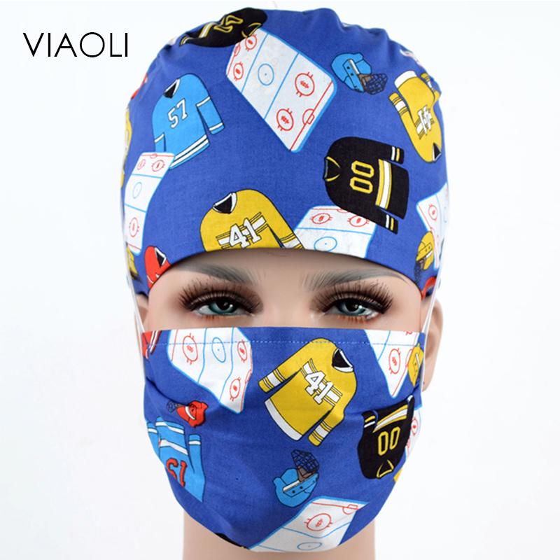 [해외]2018 수술실 모자 (여성 의사 간호사 면화 유럽 및 미국 인쇄 긴 머리 표주박 모자) 파란색 외과 모자/2018 Operating room hat (woman doctor nurse cotton European and American printing long