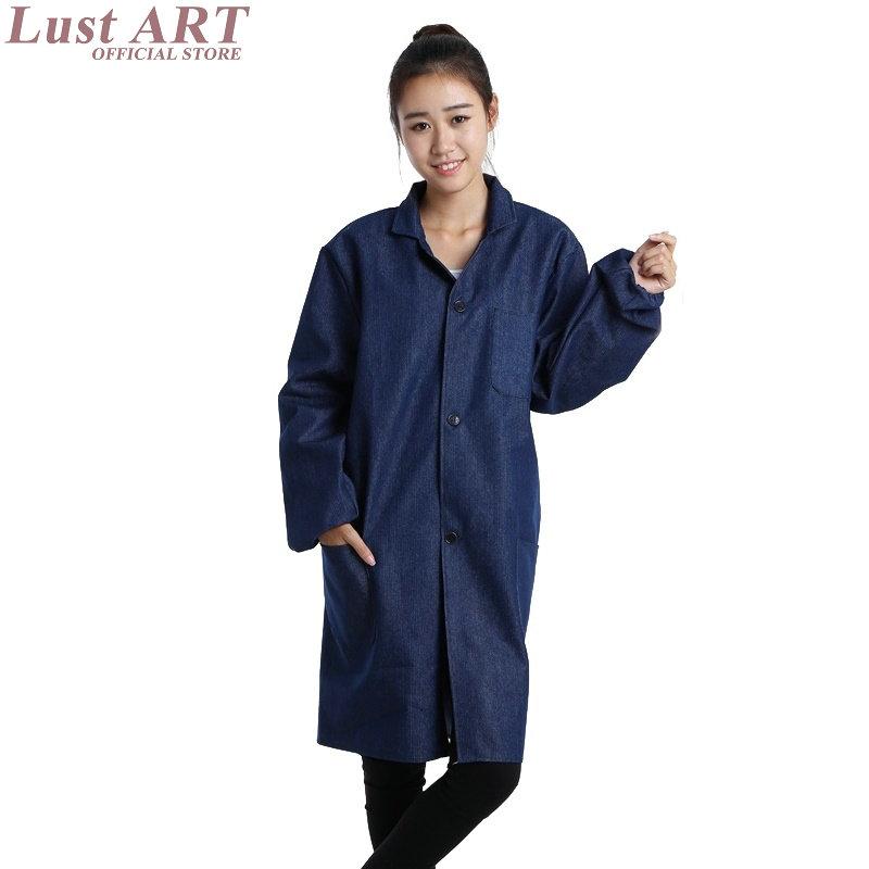 [해외]랩 코트 용품 여성 남성 실험실 코트 여성 블루 실험실 코트..