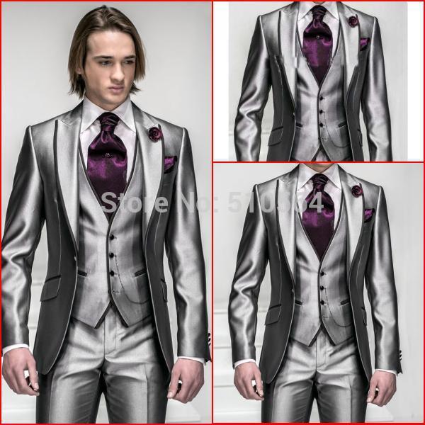 [해외]칼라에 사용자 정의 만든 밝은 실버 tuxedosblack 라인과 조끼 밝은 빛 회색 정장 (재킷 + 바지 + 조끼 + 넥타이)/Custom made bright silver tuxedosblack line on the collar and vest bright