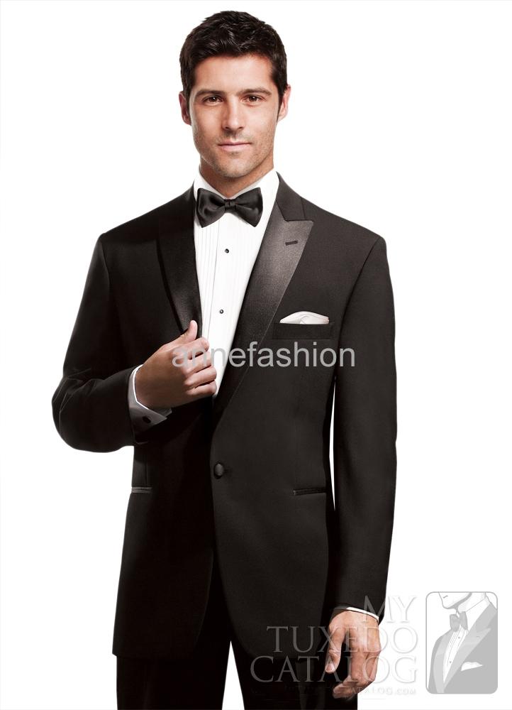 [해외] 맞춤 만든 슬림 맞는 피크 라펠 검은 턱시도 (자켓 + 바지)/Free shipping Custom made slim fit peak lapel black tuxedos(Jacket +pants)