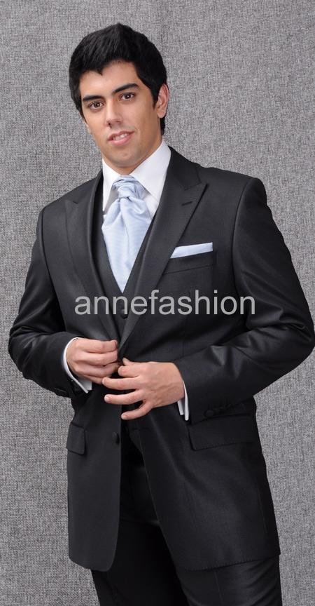 [해외]실크 밝은 검은 턱시도 남성 정장 (재킷 + 바지 + 조끼) 사용자 정의 신랑 정장 만든/silk bright black tuxedos men suit(Jacket +pants+vest) custom made Bridegroom Suit