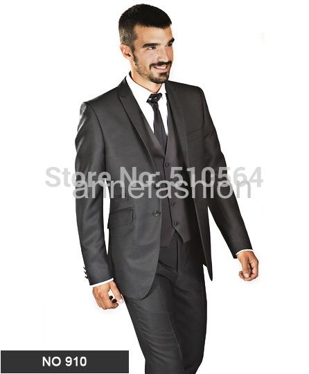 [해외] 맞춤 만든 밝고 어두운 회색 턱시도 남성 정장 (재킷 + 바지 + 조끼 + 넥타이)/Free shipping Custom made bright dark grey tuxedos men suit(Jacket +pants+vest+tie)
