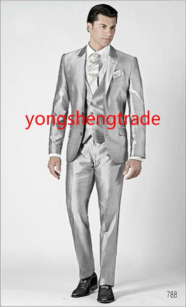 [해외]실크 산동 직??물 사용자 정의 만든 턱시도 MS0385 2015 새 스타일 세 조각 실버 웨딩 정장/2015 New Style Three Piece Silver  Wedding Suit In Silk Shantung Fabric Custom Made Tuxed