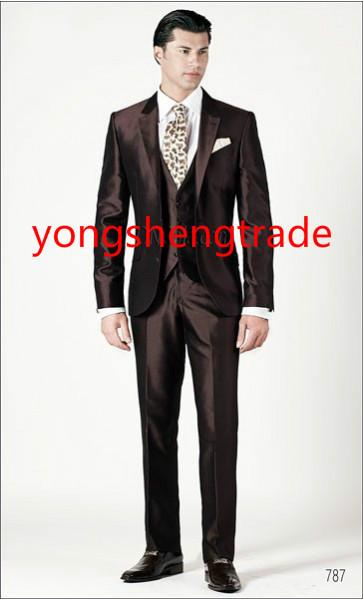 [해외]실크 산동 직??물 주문을 받아서 신랑 양복 MS0386 2015 럭셔리 세 조각 브라운 웨딩 정장/2015 Luxury Three Piece Brown Wedding Suit In Silk Shantung Fabric Customized Groom Suit M