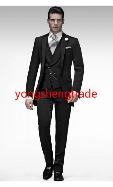 [해외]2015 새로운 스타일의 웨딩 정장 블랙 CoatAsymmetrical 더블 브레스트 양복 조끼 맞춤 제작 턱시도 3 개 MS0389/2015 New Style Wedding Suit Black CoatAsymmetrical Double-Breasted Wais