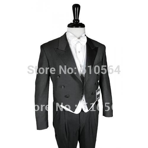 [해외]도매 - 블랙 신랑 페타 정장 결혼식 들러리 제비 꼬리 코트 남성 신랑은  정장/Wholesale - Black Groom swallowtail suit Wedding Groomsman swallow-tailed coat Men Bridegroom Suits F