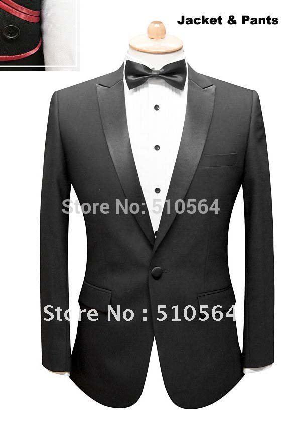 [해외]도매  맞춤 제작 울 하나의 버튼 남성 검은 턱시도 식 저녁 파티 신랑 남성 정장 (재킷 + 바지)/Wholesale Free shipping custom made wool one button men black tuxedos Ceremony Evening Par