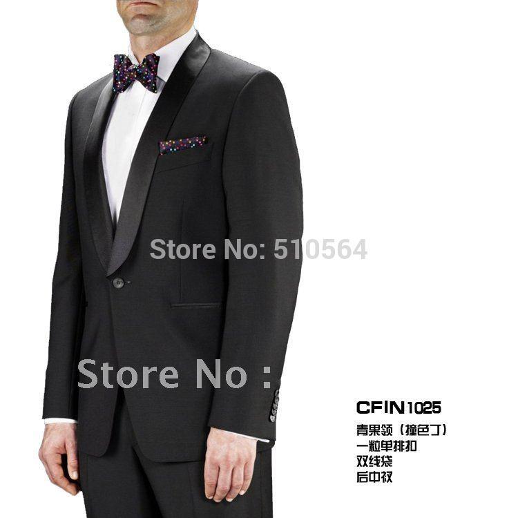 [해외]도매  최고의 남성 정장 결혼식 들러리 남성 신랑은 블랙 / 화이트 턱시도 (자켓 + 바지 + 나비 넥타이를) 정장/Wholesale Free shipping Best men Suit Wedding Groomsman Men Bridegroom Suits blac