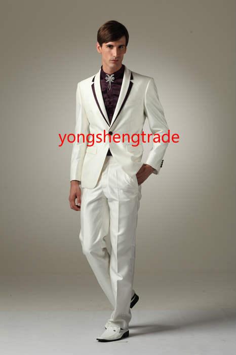 [해외]옷깃 MS0360 모두를 추가 인기 웨딩 정장 울 코트 들러리 정장 옷깃에 슬림 피트 컷과 보라색 새틴/Popular Wedding Suit Wool Ivory Groomsmen Suit Slim Fit Cut And Purple Satin On The Lape