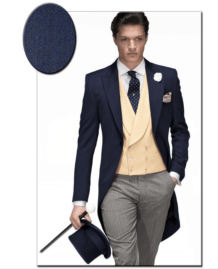 [해외]최신 코트 바지 디자인 네이비 블루 베이지 이탈리아 남성 모닝 핏 슬림 피트 3 피스 양복 턱시도 맞춤형 댄스 파티 드레스 블레 이너 Terno Masculino/Latest Coat Pant Design Navy Blue Beige Italian Men Mor