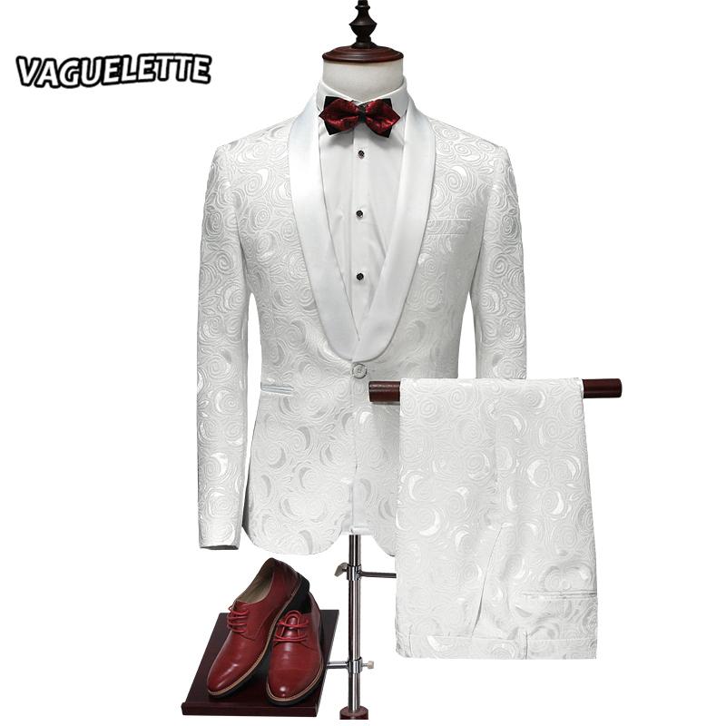 [해외]세련된 수 놓은 남자 & s 정장 턱시도 화이트 로즈 플로랄 댄스 파티 무대 단 하나의 복장 옴므 Mariage 2017 M-4XL/Stylish Embroidered Men&s Suit Tuxedos White Rose Floral Prom Suit S