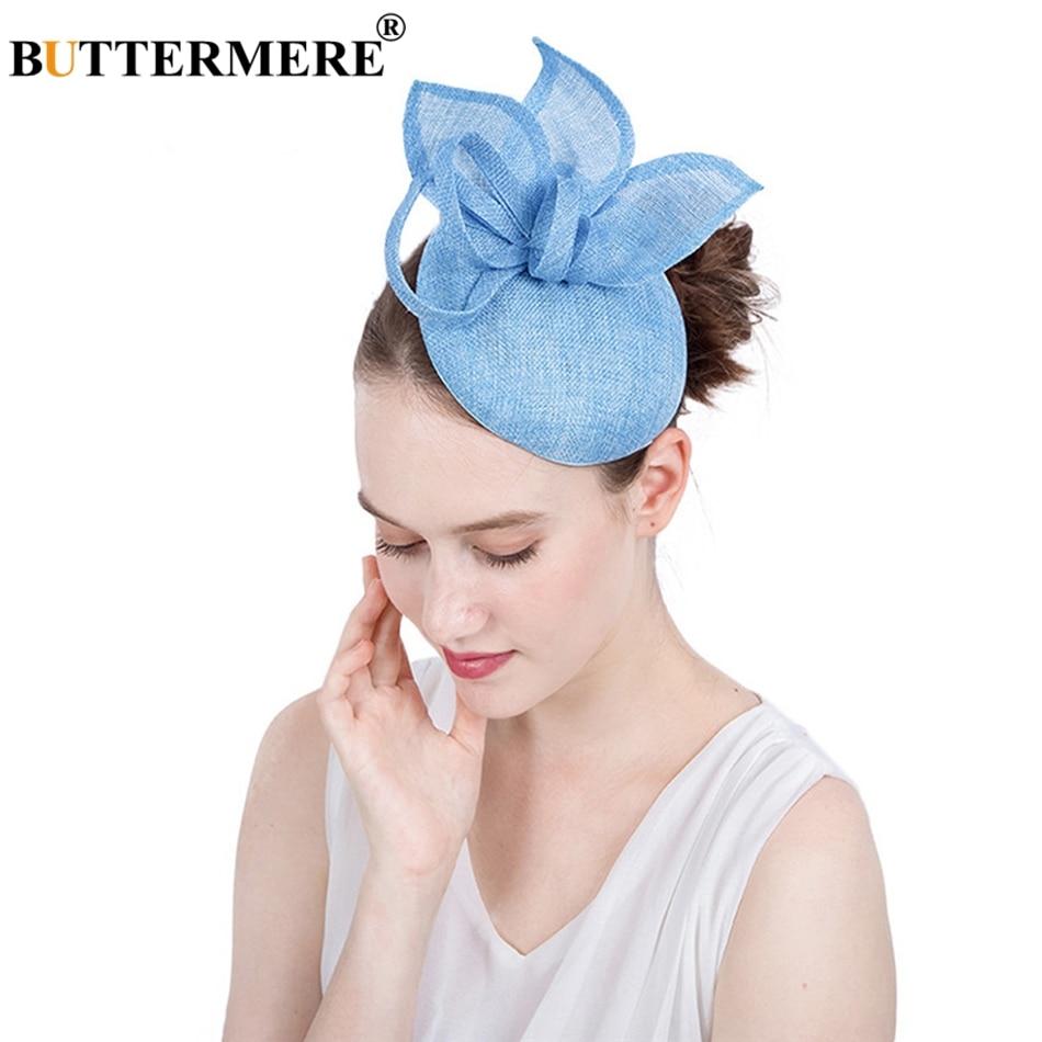 8266f67bcd89 [해외]BUTTERMERE Women Fedora Blue Linen Bride Hats Female Elegant Wedding  Party Vintage Pillbox