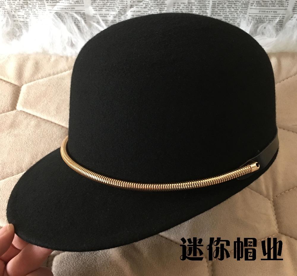[해외]골드 체인 승마 모자 여성 패션 모자 빈티지 모직 돔 야구 모자/Gold chain equestrian cap female fashion cap vintage woolen dome baseball cap
