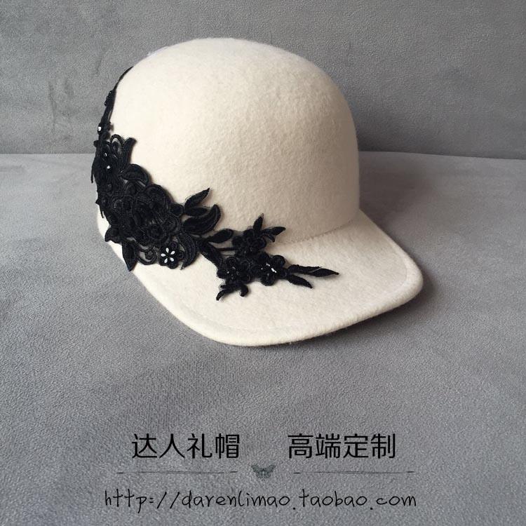 [해외]화이트 울 야구 모자 자수 라인 스톤 블랙 아플리케 승마 모자 우아한 패션 여성 모자 장미/White wool baseball cap embroidery rhinestone black rose applique equestrian cap elegant fashio