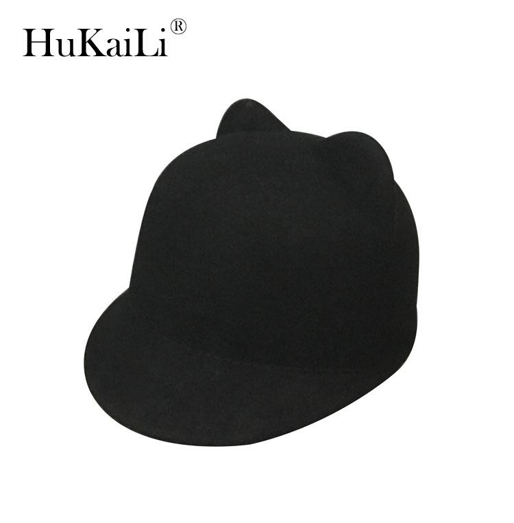 [해외]순수 양모, 모자 야구 모자 짧은 처마 승마 모자 ms 곰 귀 모자 모자/Pure wool, hat baseball caps short eaves equestrian cap ms bear ear hat hat