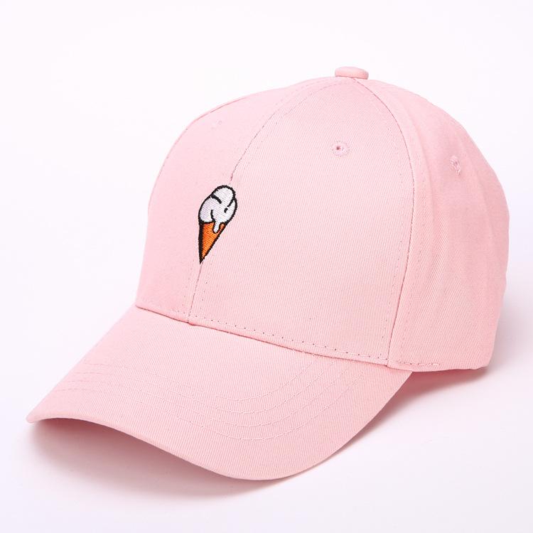 [해외]새로운 패션 아이스크림 자수 야구 모자 남자 여자 Snapback 카스켓 뼈 핑크 캡/New Fashion Ice Cream Embroidery Baseball Cap Men Women Snapback Casquette Bone Pink Cap