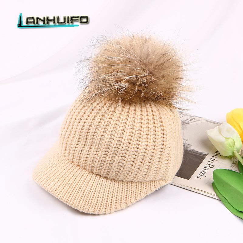 [해외]LANHUIFD 새로운 한국 버전 모자 여자 가을과 겨울 니트 모자 털볼 모자 모자 폭스 테일 야구 모자 온기 유지/LANHUIFD The New Korean Version Hat Woman Autumn And Winter Knitted Hat Hairball