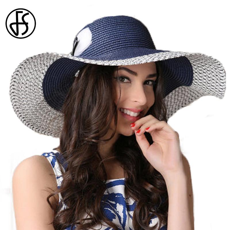 14ebe322943 ... 모자 큰 둥근 머리핀 플로피 밀짚 모자 파란색과 흰색 여성 바지선 해변 일 모자 들어 갔어 접을 수있는 모자 FS Elegant Summer  Hat For Women Large Brim Floppy ...