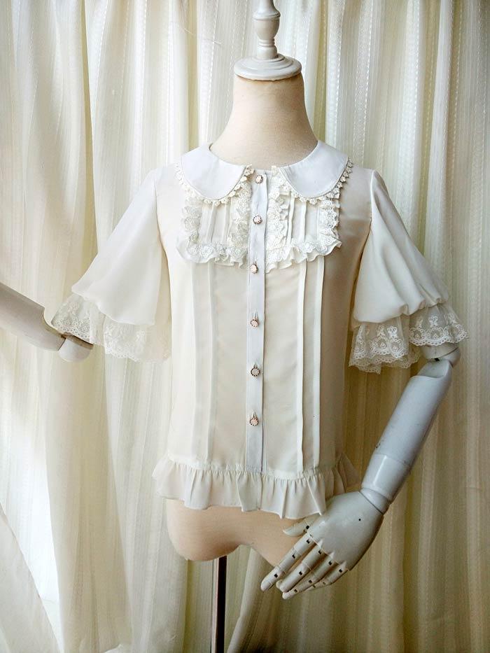 ff9e55e1186  해외  White Womens Vintage Short Sleeve Gothic Steampunk Blouse Elegant  Royal Lolita Shirt