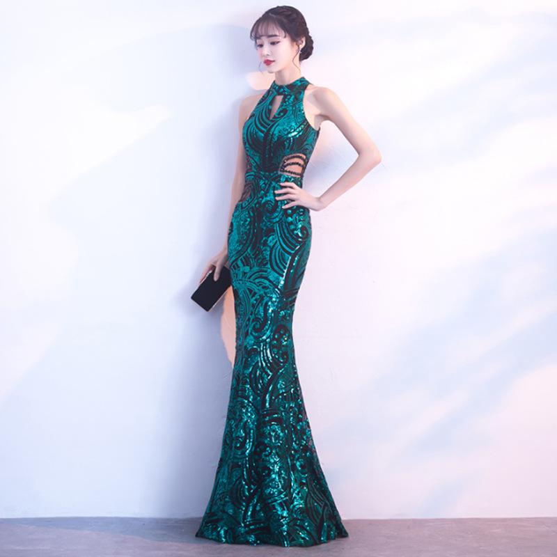 호수 블루 인어 중국어 섹시 스팽글 동양 파티 여성 cheongsam 무대 쇼 qipao 드레스 우아한 연예인 연회 드레스