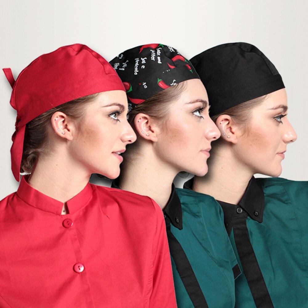 여자 요리사 모자 고품질 호텔 부엌 대중 음식점 모자 웨이터 남자와 여자를위한 리본 모자는 펑키 최고 모자를 조정한다