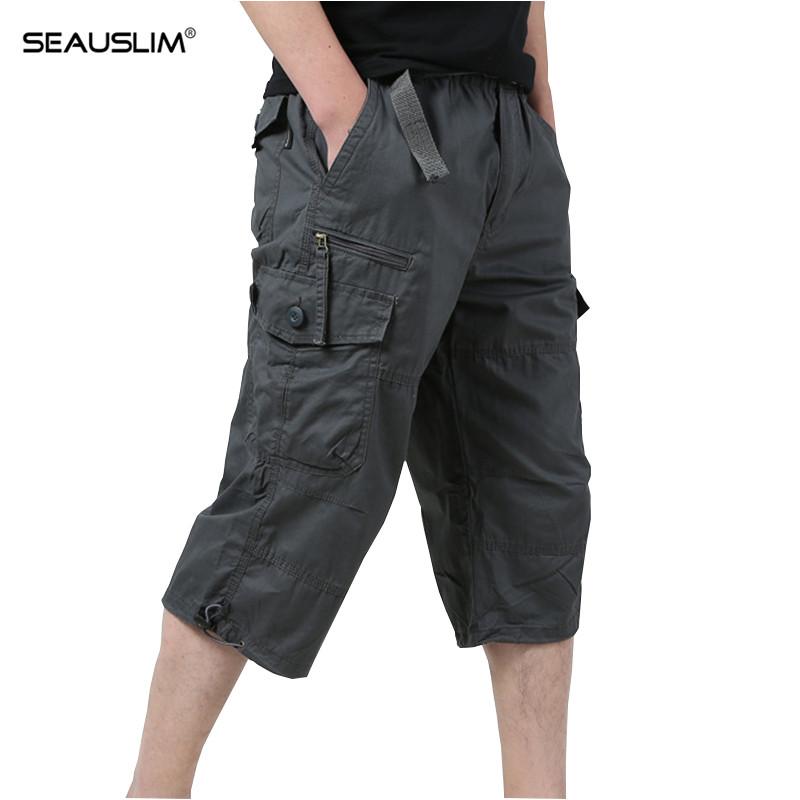 [해외]SEAUSLIM 카고 반바지 여름 전술 작업 면화 바지 루즈 밀리터리 캐주얼 반바지 전투 SWAT 육군 작업복 LQ-ZR-01/SEAUSLIM Cargo Shorts Men Summer Tactical Work Cotton Trousers Loose Milita