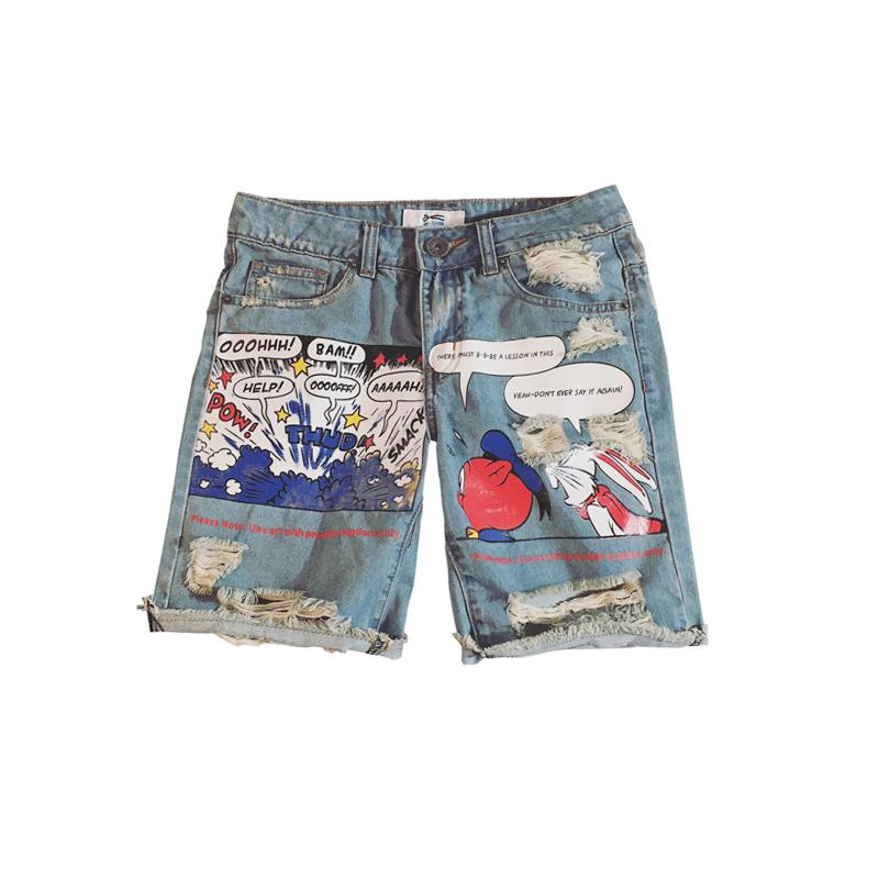[해외]2017 학생 청소년 스타일 짧은 청바지 남자 패션 청소년 캐주얼 바지 큰 크기 구멍 인쇄 만화/2017 Student Teenagers Style Short Jeans Men Fashion Youth Casual Trousers Big Size Holes Pr