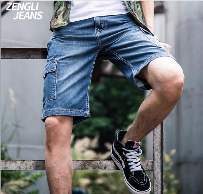 [해외]플러스 사이즈 42 44 46 48 여름 데님 카고 반바지 버뮤다 Masculina 청바지 남성 패션 캐주얼 바지 남성 반바지 면화 헐렁한/Plus Size 42 44 46 48 Summer Mens Denim Cargo Shorts Bermuda Masculi