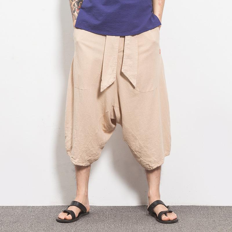 [해외]?MRDONOO 2018 여름  스타일 남성 느슨한 린넨 반바지 무릎 길이 하렘 바지 남성 버뮤다 캐주얼 보드 숏 팬츠 DK08/ MRDONOO 2018 Summer Chinese style Men Loose Linen Shorts Knee Length Hare