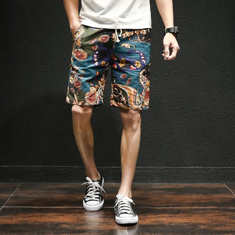[해외]2018 년 여름 하와이안 스타일의 꽃 비치 팬츠 남성용 면직물 신축성 허리 대형 캐주얼 반바지 M-5XL/2018 summer new Hawaiian style flower beach shorts men&s cotton linen elastic waist la