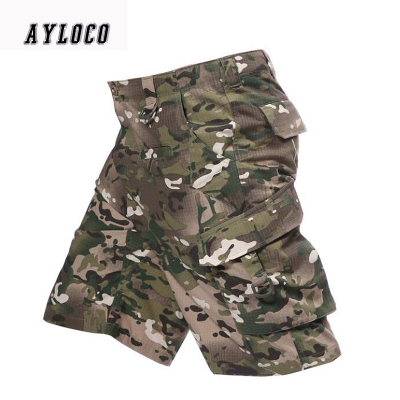 [해외]패션 망화물 반바지 여름 전술 군대 녹색 캐주얼 바지 오버 올 남성 밀리터리 반바지 큰 주머니 장식/Fashion Mens Cargo Shorts Summer Tactical army green Casual trousers Overalls male Militar