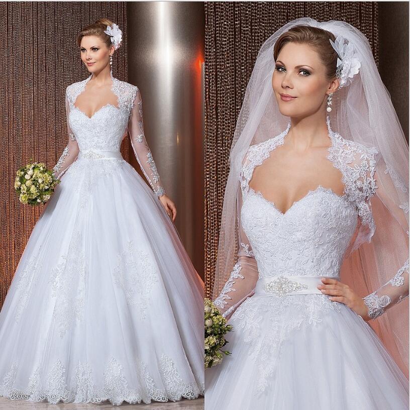 [해외]?2016 신부 화이트 웨딩 드레스 롱 슬리브 재킷 플러스 사이즈 신부 가운 가운 데 Mariage/ 2016 Bridal White Wedding Dress Long SleeveJacket Plus Size Bridal Gown Vestido de noiva