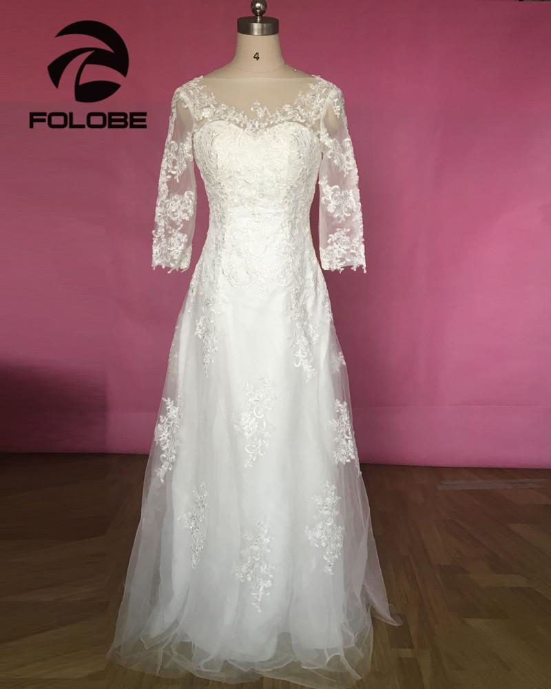 [해외]Vestidos 드 Novia Princesa  로브 드 Mariee 우아한 통해 보라색 레이스 A 라인 웨딩 드레스 하프 슬리브 브라 가운/Vestidos De Novia Princesa Stock Robe De Mariee Elegant See Through