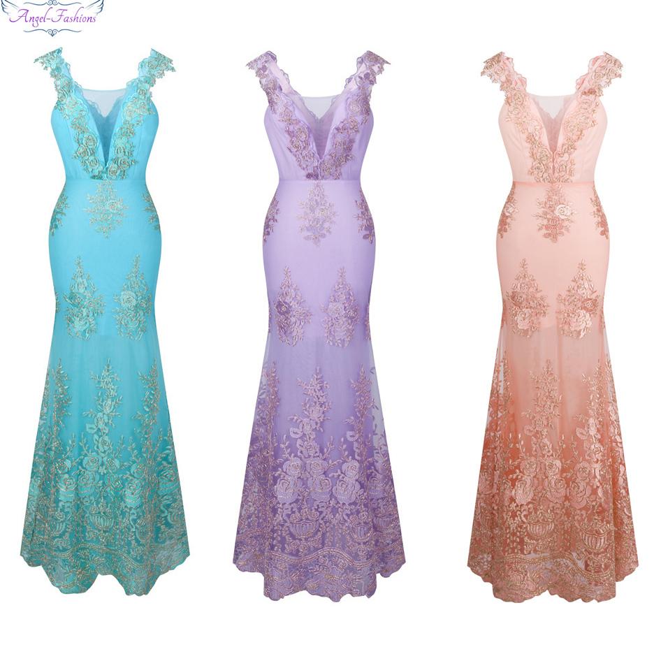 [해외]천사 - 패션 여성의 V 목 자수 레이스 꽃 인어 긴 웨딩 드레스 핑크 310/Angel-fashions Women&s V Neck Embroidery Lace Flower Mermaid Long Wedding Dress Pink 310