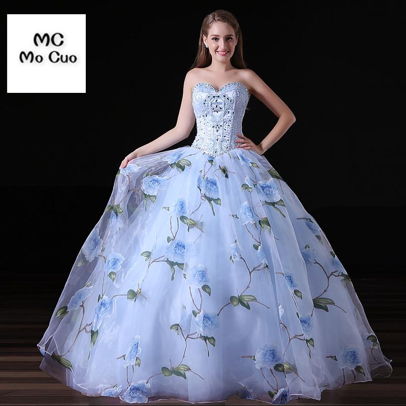 [해외]우아한 2017 웨딩 드레스 인쇄 패턴 볼 가운 가운 크리스마스 드레스 카운트 기차 크리스탈 파란색 된 Organza 웨딩 드레스/Elegant 2017 Wedding Dress Print Pattern Ball Gown vestidos de novia Coun
