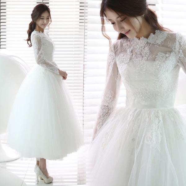 [해외]뜨거운 SellingSweet 절묘한 레이스 투명 O - neck 긴 Retail 웨딩 드레스 596/Hot SellingSweet Exquisite Lace Transparent O-neck  Long Sleeve Wedding Dress 596