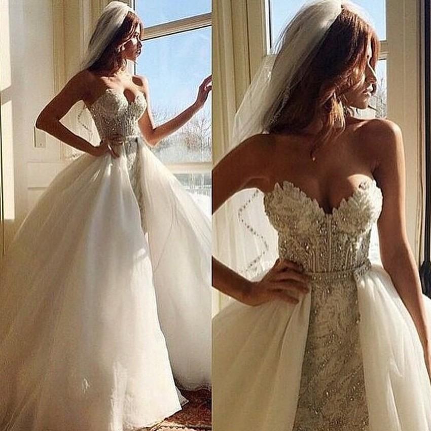 [해외]2 조각 분리형 치마 웨딩 드레스 2016 분리형 기차 2016 럭셔리 크리스탈 파란색 된 레이스 웨딩 드레스 abiti da sposa/2 Piece Detachable Skirt Wedding Dress 2016Detachable Train 2016 Luxu