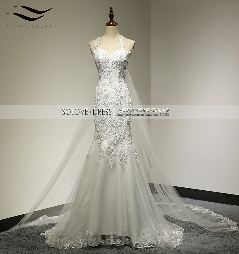[해외]Solovedress 진짜 사진 아플리케 인피부 얇은 명주 그물 스트랩 웨딩 드레스 분리 할 수있는 기차 연인의 의상 SLD - W22/Solovedress Real Picture Appliques Mermaid Tulle Strap Wedding DressDe