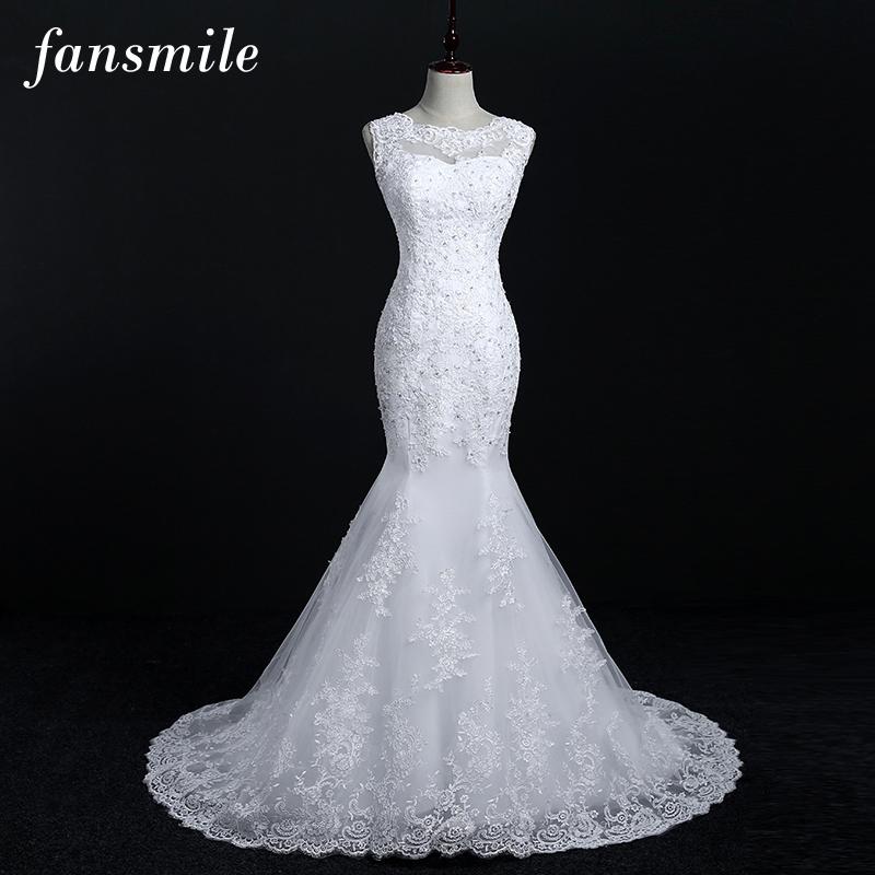 [해외]Fansmile 레이스 머메이드 웨딩 드레스 2017 플러스 사이즈 신부 Alibaba 웨딩 드레스 실제 사진/Fansmile New Arrival Lace Mermaid Wedding Dresses 2017 Plus Size Bridal Alibaba Wedd