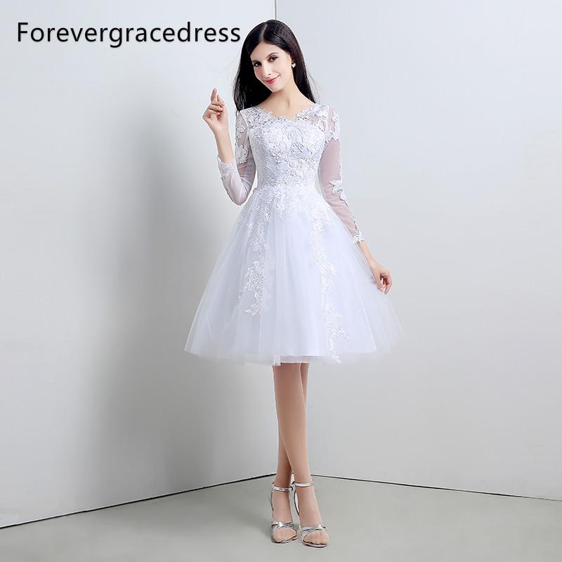 [해외]Forevergracedress 화이트 짧은 웨딩 드레스 라인 레이스 Tulle Long Sleeves 신부 드레스 플러스 크기 맞춤 제작/Forevergracedress White Short Wedding Dress A Line Lace Tulle Long S