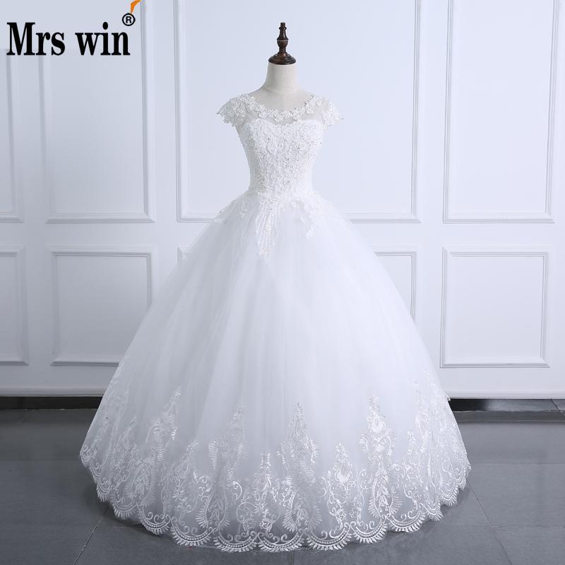 [해외]2017 볼 가운 O 목 웨딩 드레스 레이스 바디 진주 짧은 Retail 웨딩 드레스 플러스 크기 실제 이미지 신부 가운 Vestido De Noiva/2017 Ball Gown O Neck Wedding Dress Lace Body Pearls Short Sl